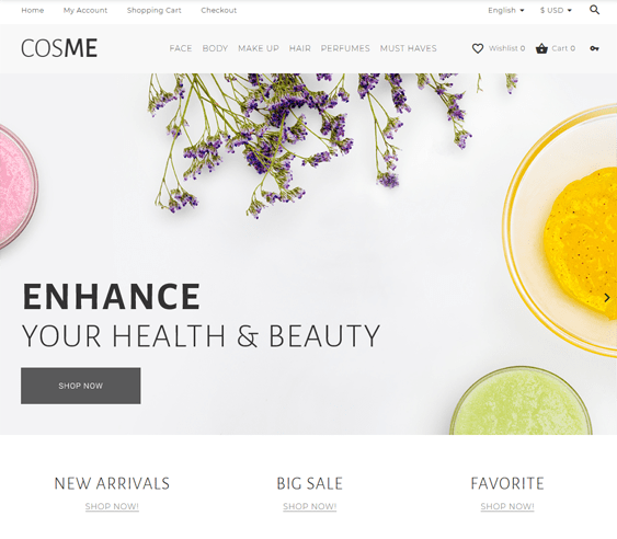 best opencart themes cosmetics beauty hair products makeup feature