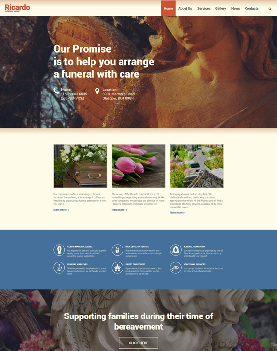 drupal themes funeral services