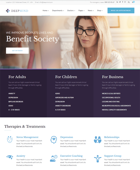 medical wordpress themes clinics doctors surgeons therapists