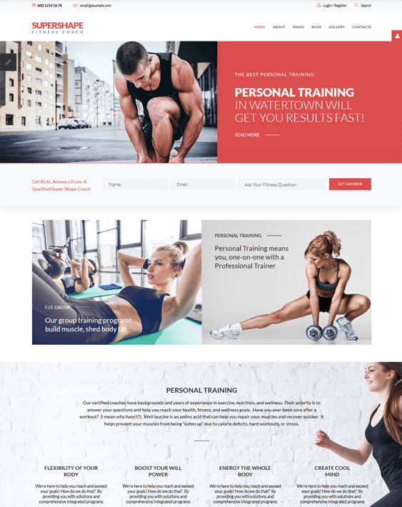 gym fitness joomla templates