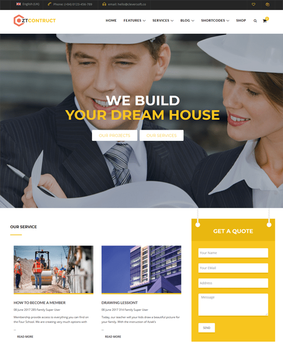 joomla templates building contractors construction companies