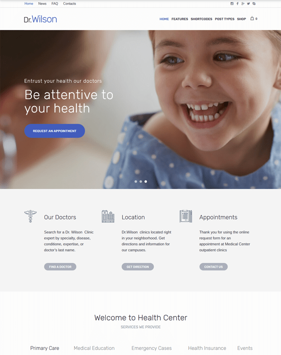 wordpress themes pediatricians pediatric clinics