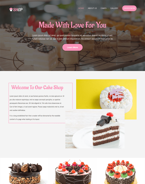 bakery cake shop wordpress themes