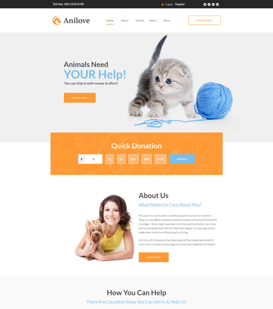 wordpress themes animal charities nonprofits pet shelters rescues