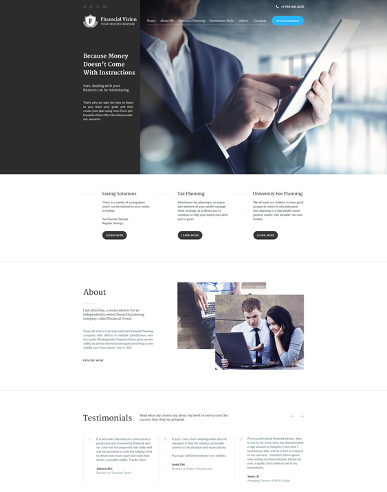 bootstrap website templates financial advisors investment companies