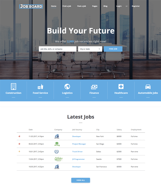 bootstrap templates job boards employment websites