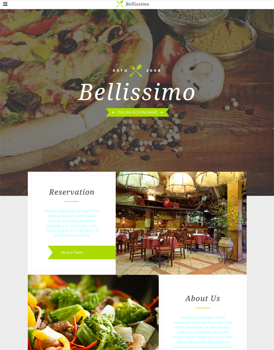 bootstrap website templates italian restaurant