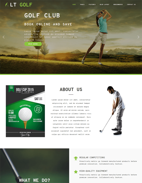 golf wordpress themes