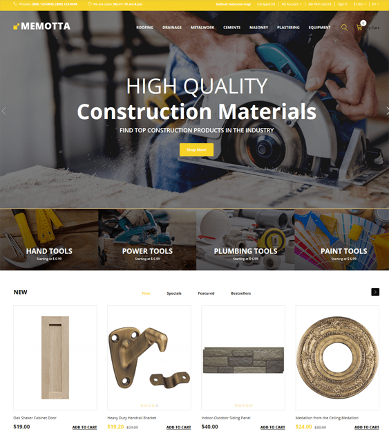 opencart themes home improvement diy stores