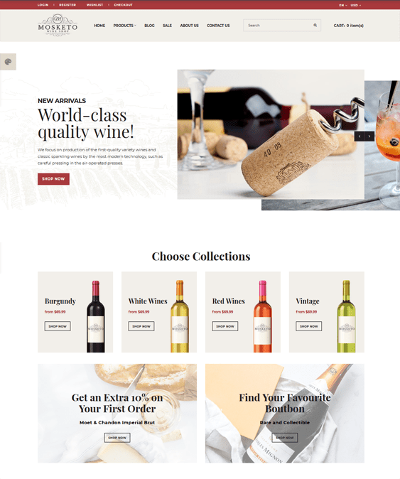 opencart themes for selling wine