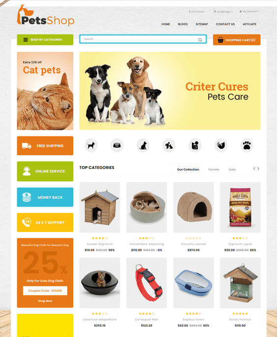 opencart themes animals pets