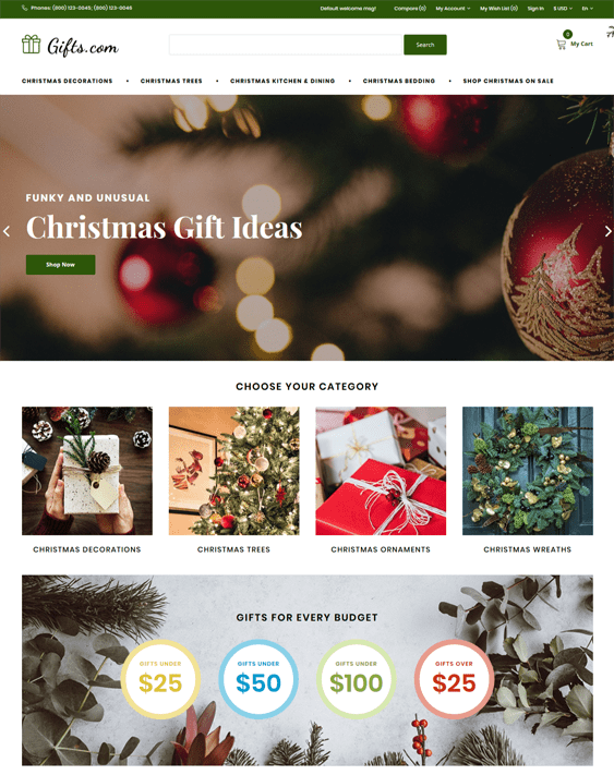 opencart themes for ecommerce Christmas websites