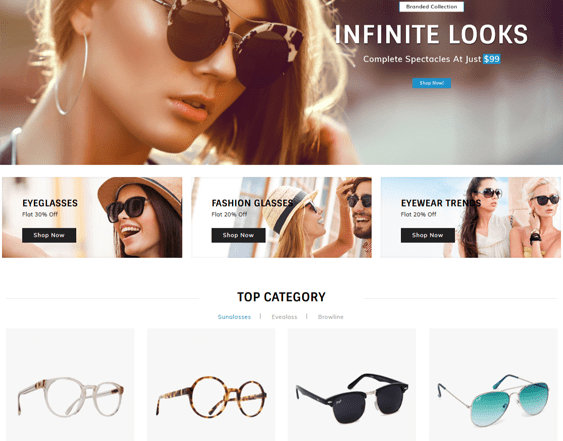 best opencart themes for selling eyewear and sunglasses feature