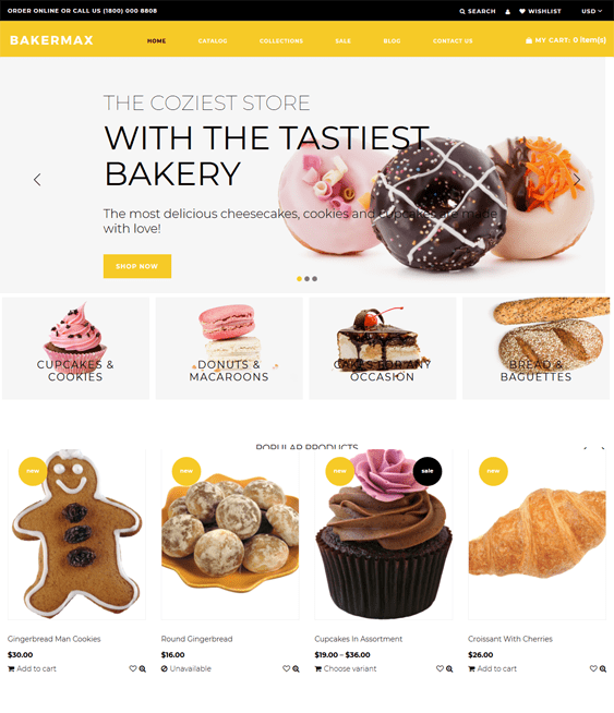bakery shopify themes for selling cakes bread cookies