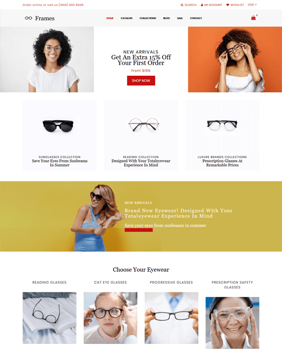 shopify themes for selling sunglasses and eyewear