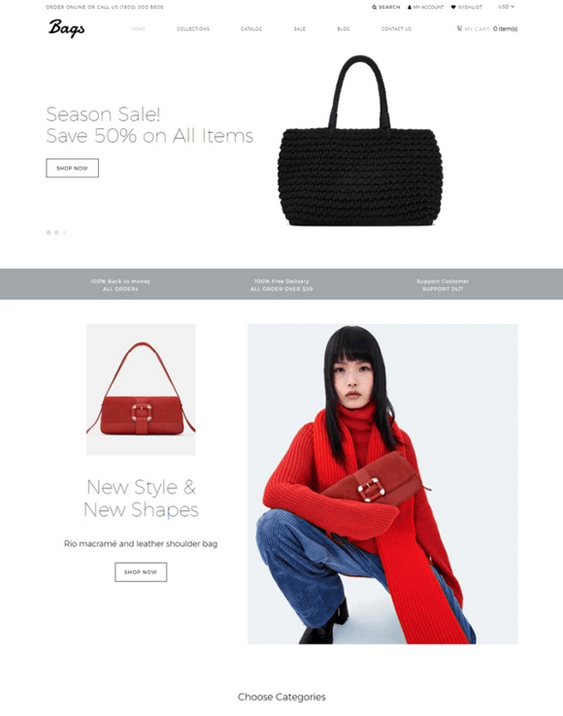 shopify themes for selling handbags purses backpacks