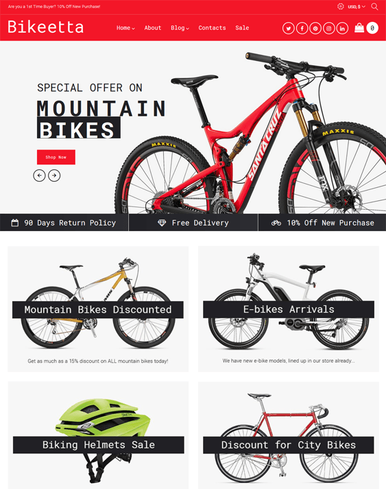 woocommerce themes for bike cycling stores