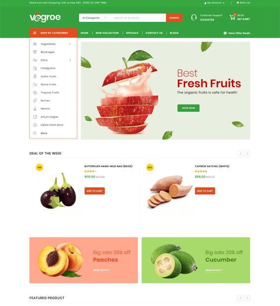 best opencart themes food groceries baked goods feature