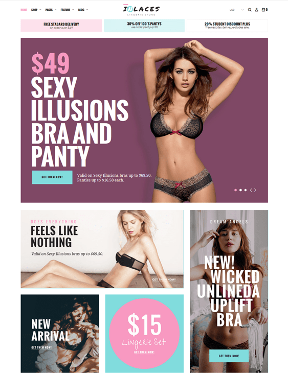 lingerie woocommerce themes for selling bras underwear