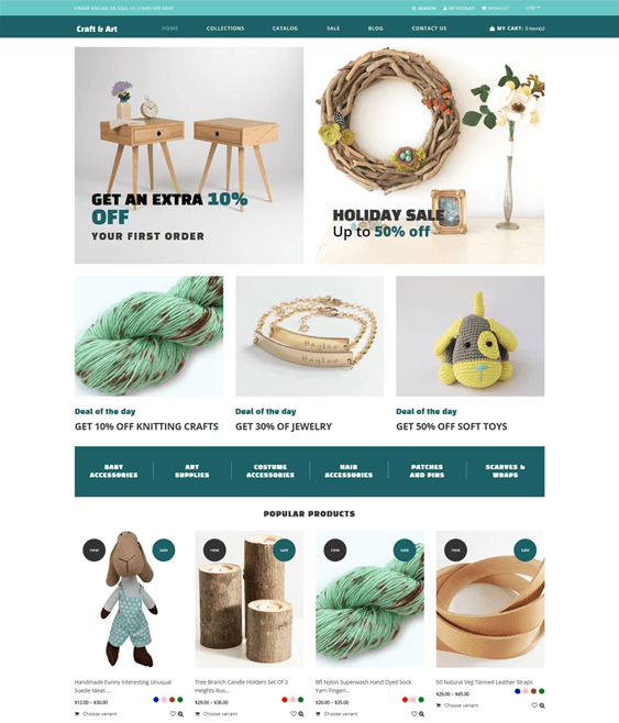 shopify themes for selling handmade arts crafts goods
