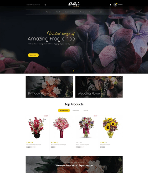 opencart themes for florists flower shops