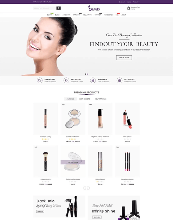 shopify themes for selling beauty products cosmetics makeup perfume