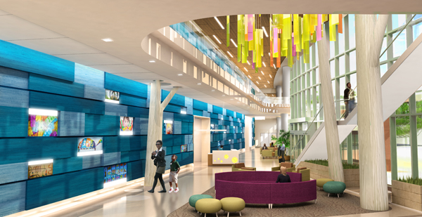 """Abstract design features in the future lobby play into the """"things familiar"""" and backyard ideas. The blue wall represents an abstract fence. The design team is also working on large tree sculptures and a ceiling sculpture element to symbolize a tree canopy of leaves."""