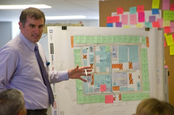Scott Radcliff, of Hasenstab Architects, leads a brainstorming session.