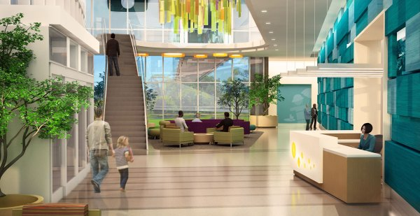 An abstract sculpture of a hanging tree will be a key interior design feature in the main lobby of the new building.
