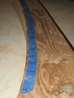 On the loft floor, bevel angles were measured every 6 inches. In laying out the angles for cutting, they were interpolated between the measured angles to half degree increments. Photo by Jim Trish.