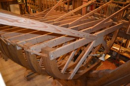 Another view of the strongbacks near the stern