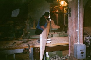 """Josh does the resawing on the 36"""" bandsaw"""