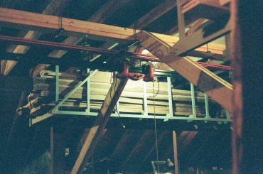 The support beam and diagonal braces are made from dimension lumber