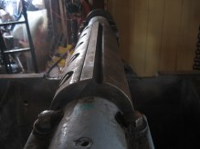Two massive blades, babbitt bearings