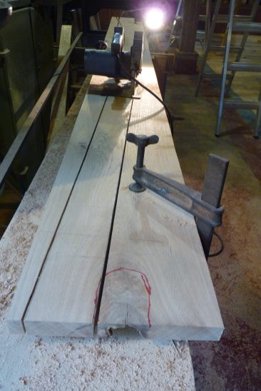 The circular saw does a great job of cutting the planks to near-finished shape.