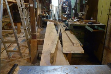 That same aft plank after steam-bending, getting its caulking bevel and a few adjustments to the fit.