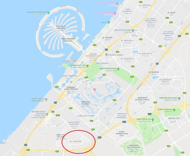 Al Furjan Ready Villa for Sale -Location Map