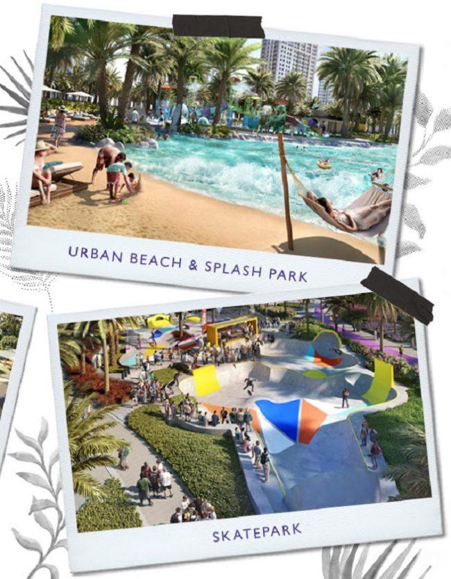 Dubai Hills Park at Dubai Hills Estate - Urban Beach and Splash Park - Skate Park