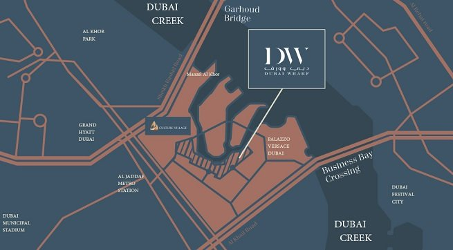 Dubai Wharf - Dubai Creek - Location Map