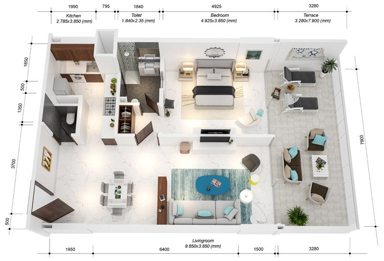 Azure Residences at Palm Jumeirah by Nakheel - FP-1bed-Type A