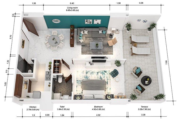 Azure Residences at Palm Jumeirah by Nakheel - FP-1bed-Type B