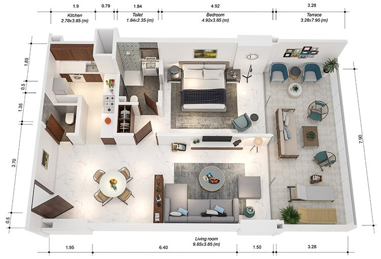 Azure Residences at Palm Jumeirah by Nakheel - FP-1bed-Type C