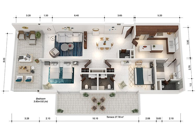 Azure Residences at Palm Jumeirah by Nakheel - FP-2bed-Type A