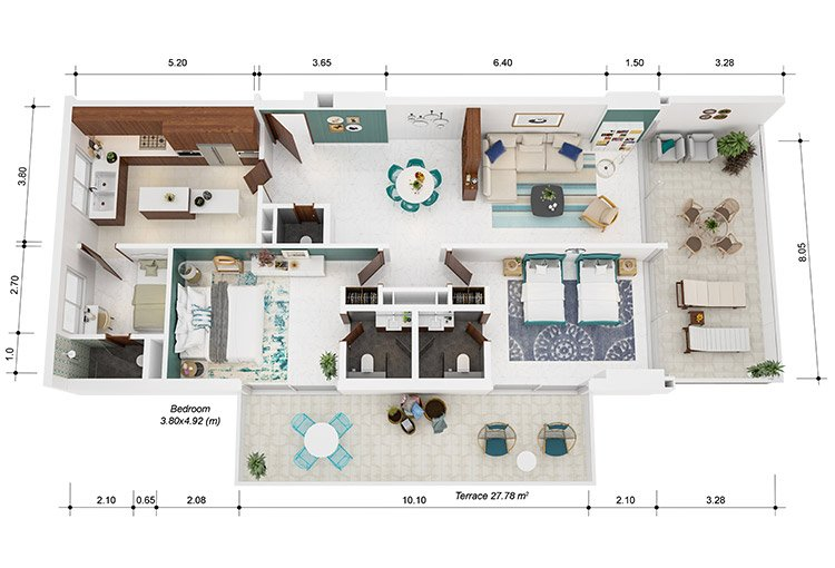 Azure Residences at Palm Jumeirah by Nakheel - FP-2bed-Type D