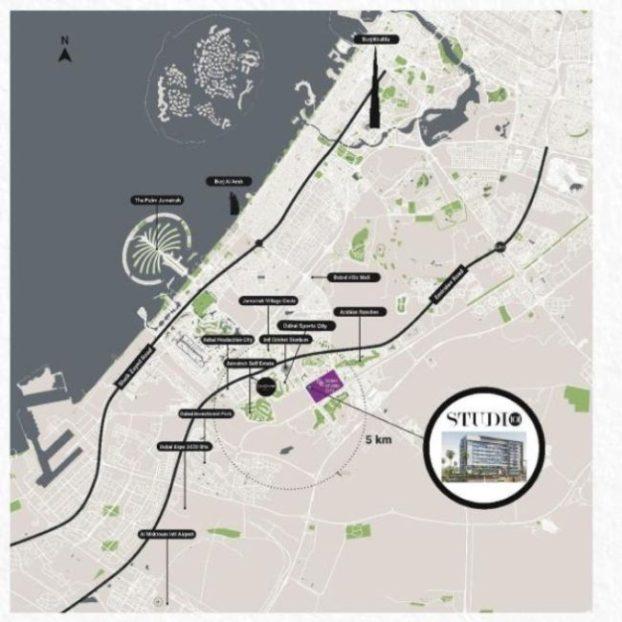 Studio 101 by Meilenstein at Dubai Studio City - Apartment for Sale - Location