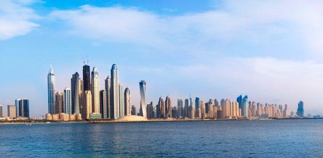 Dubai Marina Skyline from sea