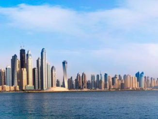 Dubai Marina Skyline from sea