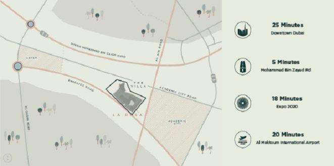 La Rosa at Villanova by Dubai Properties Townhouses location