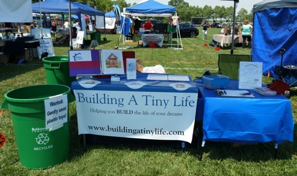 Building a tiny life booth at the Robbinsville, NJ, green fair