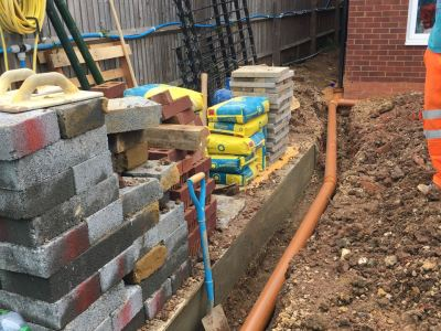 Surfacewater drainage pipes to soakaway